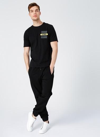 NetWork Network Erkek Slim Fit Bisiklet Yaka Tişört Siyah